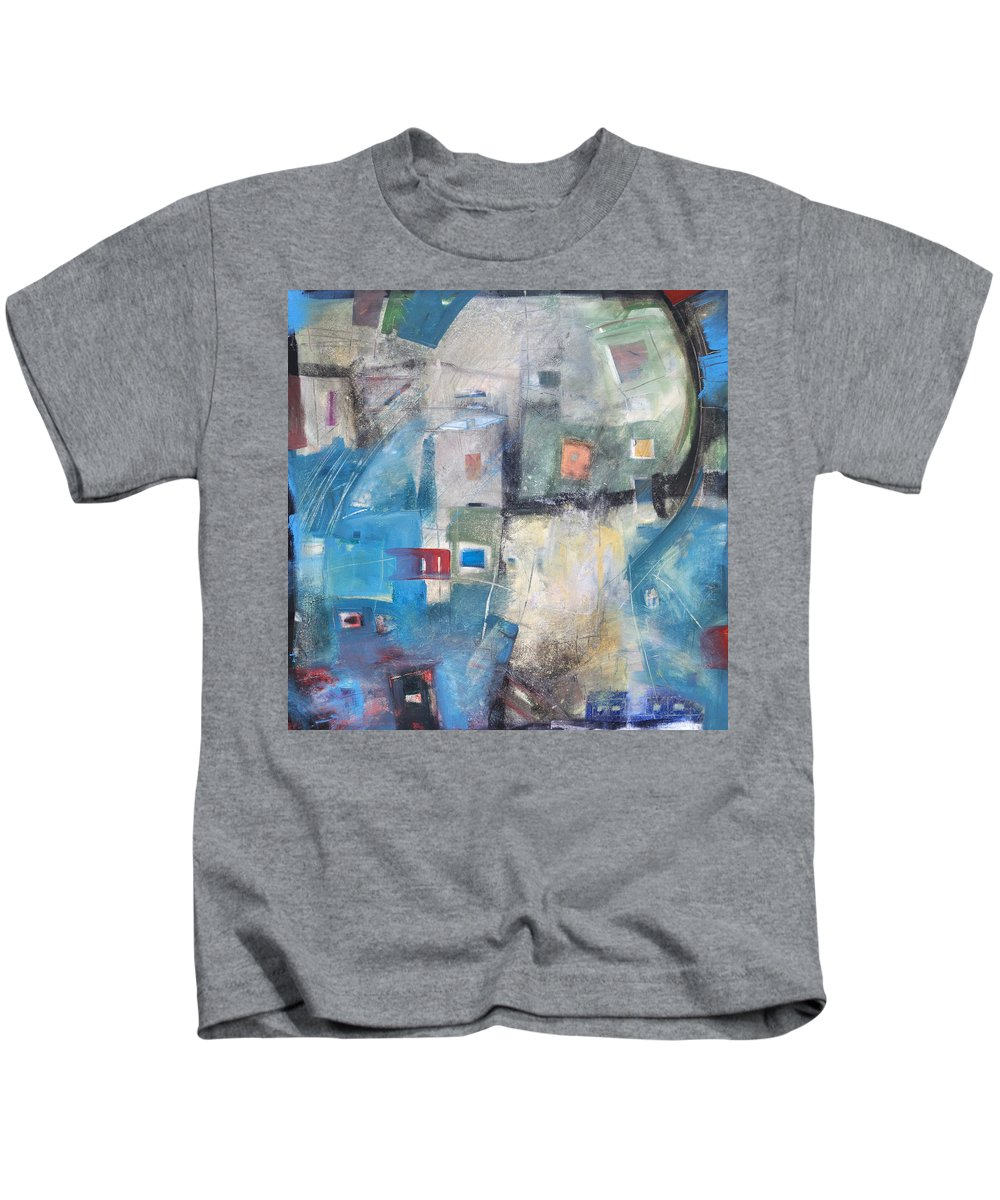 Abstract Kids T-Shirt featuring the painting Bayer Works Wonders by Tim Nyberg