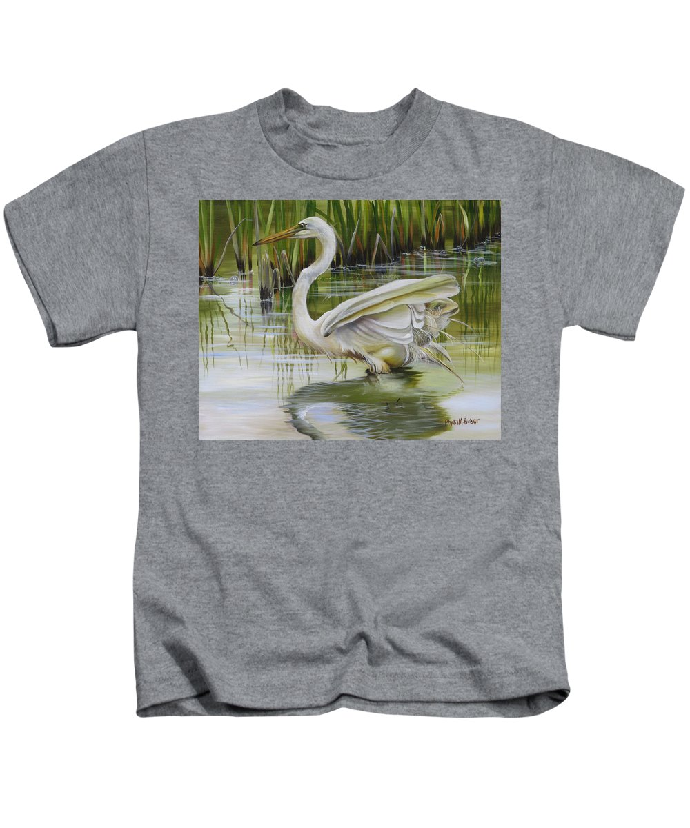 Egret Kids T-Shirt featuring the painting Bayou Caddy Great Egret by Phyllis Beiser