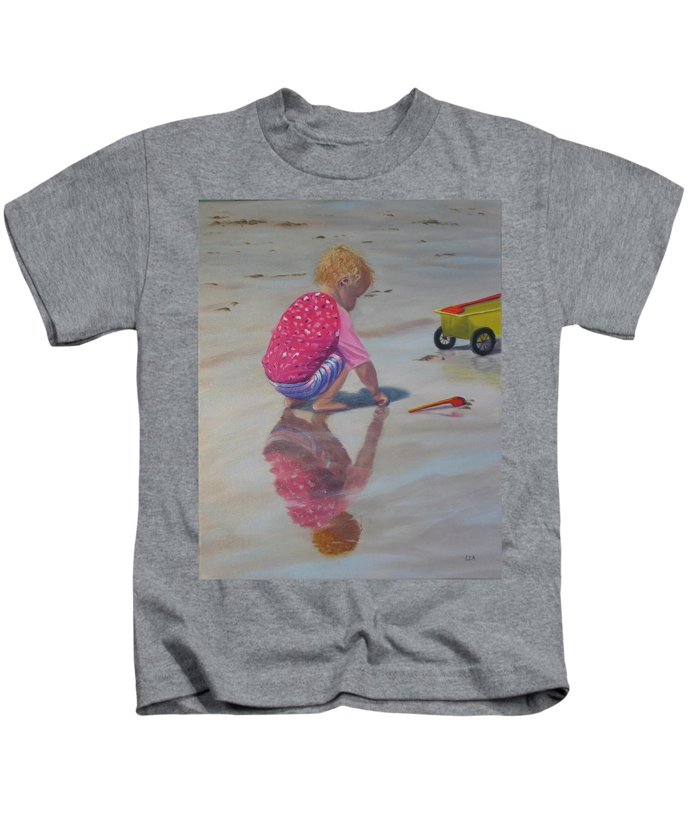 Baby Kids T-Shirt featuring the painting Beach Baby by Lea Novak