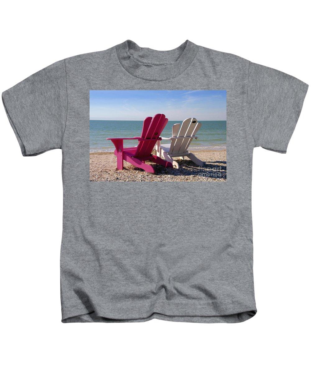 Beach Chairs Kids T-Shirt featuring the photograph Beach Chairs by David Lee Thompson