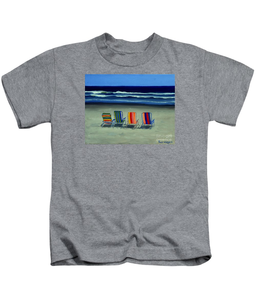 Beach Kids T-Shirt featuring the painting Beach Chairs by Paul Walsh
