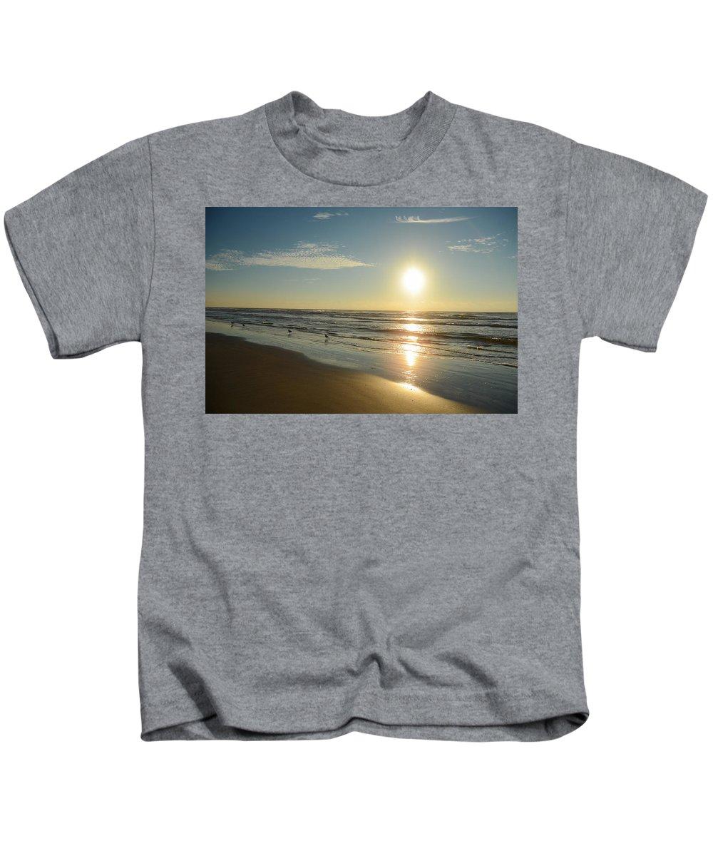 Beach Sunrise Ocean New Jersey Coast Nj Sun Kids T-Shirt featuring the photograph Beach Sunrise by Steven Riker