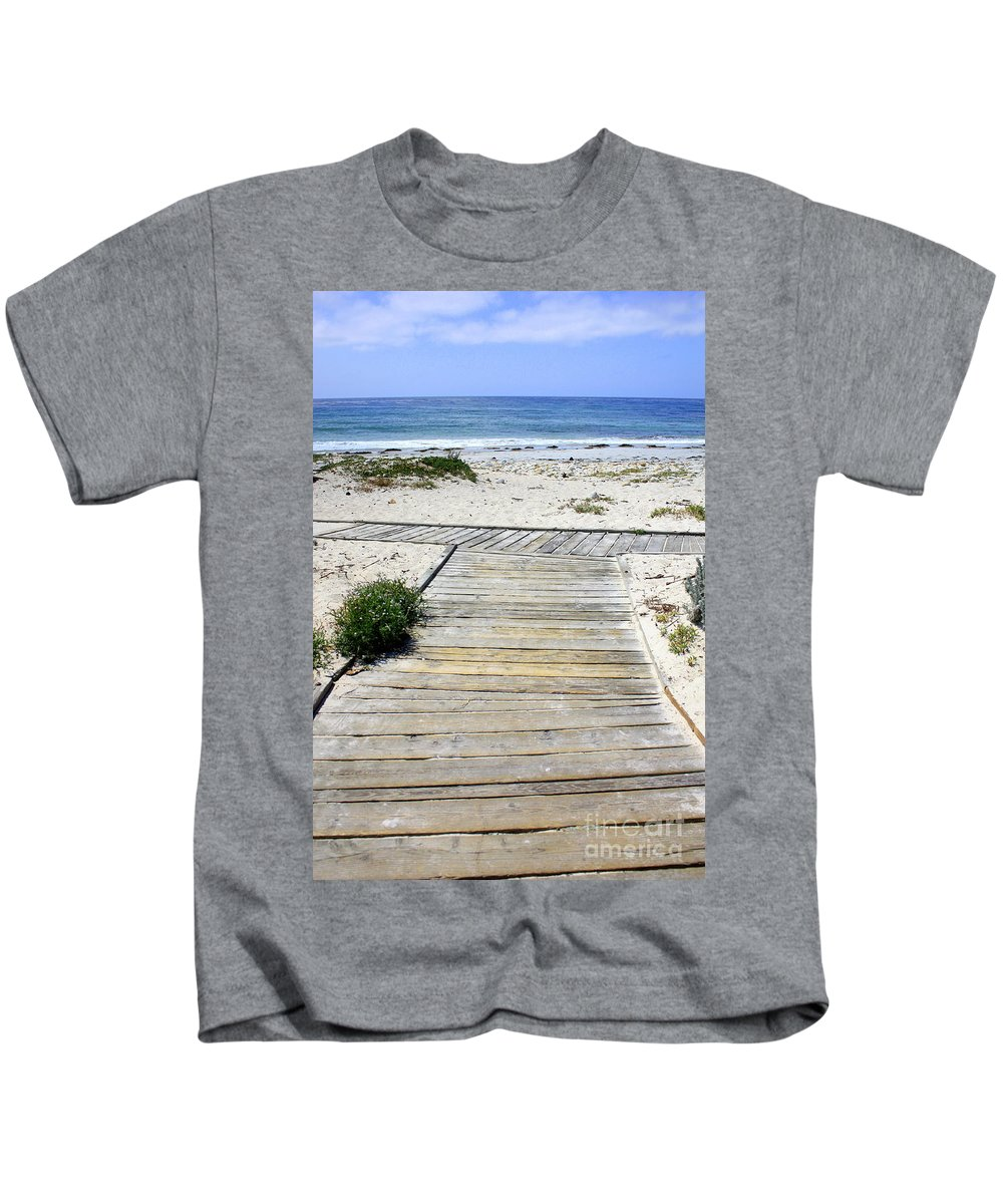 Ocean Kids T-Shirt featuring the photograph Beach Walk by Carol Groenen