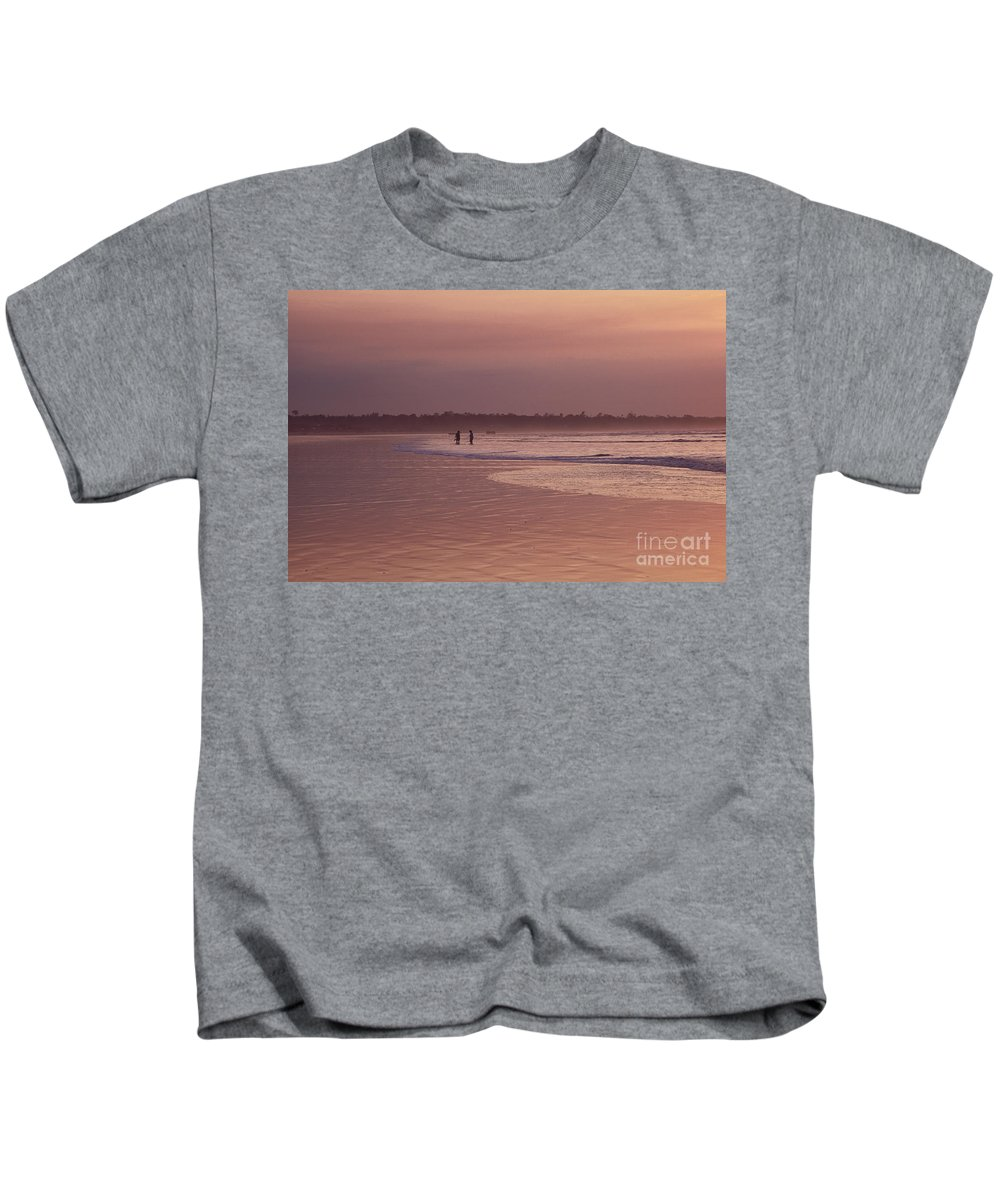 Ecuador Kids T-Shirt featuring the photograph Beachcombers by Kathy McClure