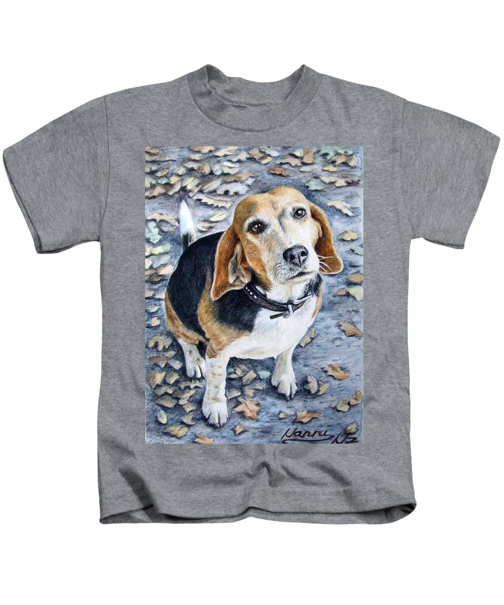 Dog Kids T-Shirt featuring the painting Beagle Nanni by Nicole Zeug