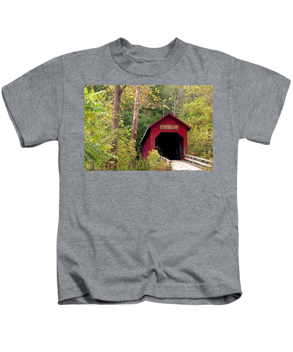 Covered Bridge Kids T-Shirt featuring the photograph Bean Blossom Bridge II by Margie Wildblood