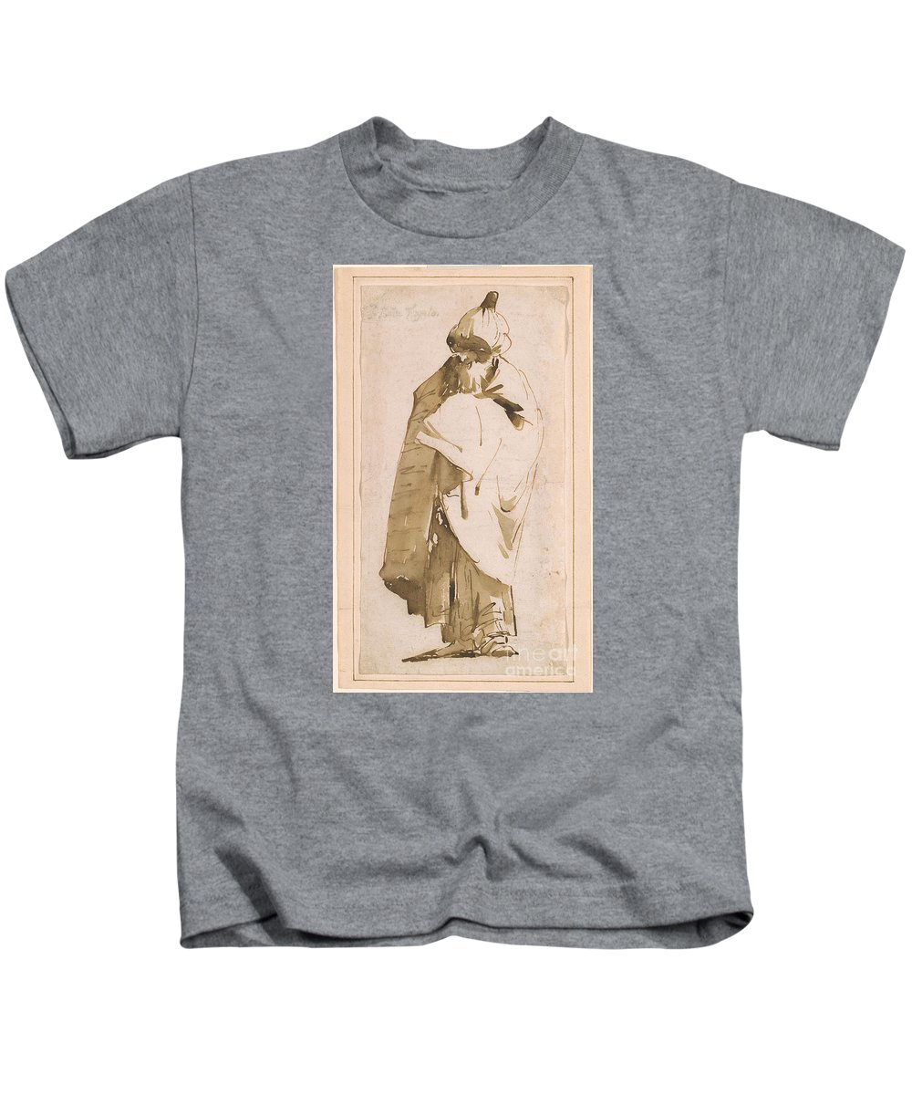 Giovanni Battista Tiepolo 1696-1770 Bearded Oriental In Turban And Cloak Kids T-Shirt featuring the painting Bearded Oriental In Turban And Cloak by MotionAge Designs