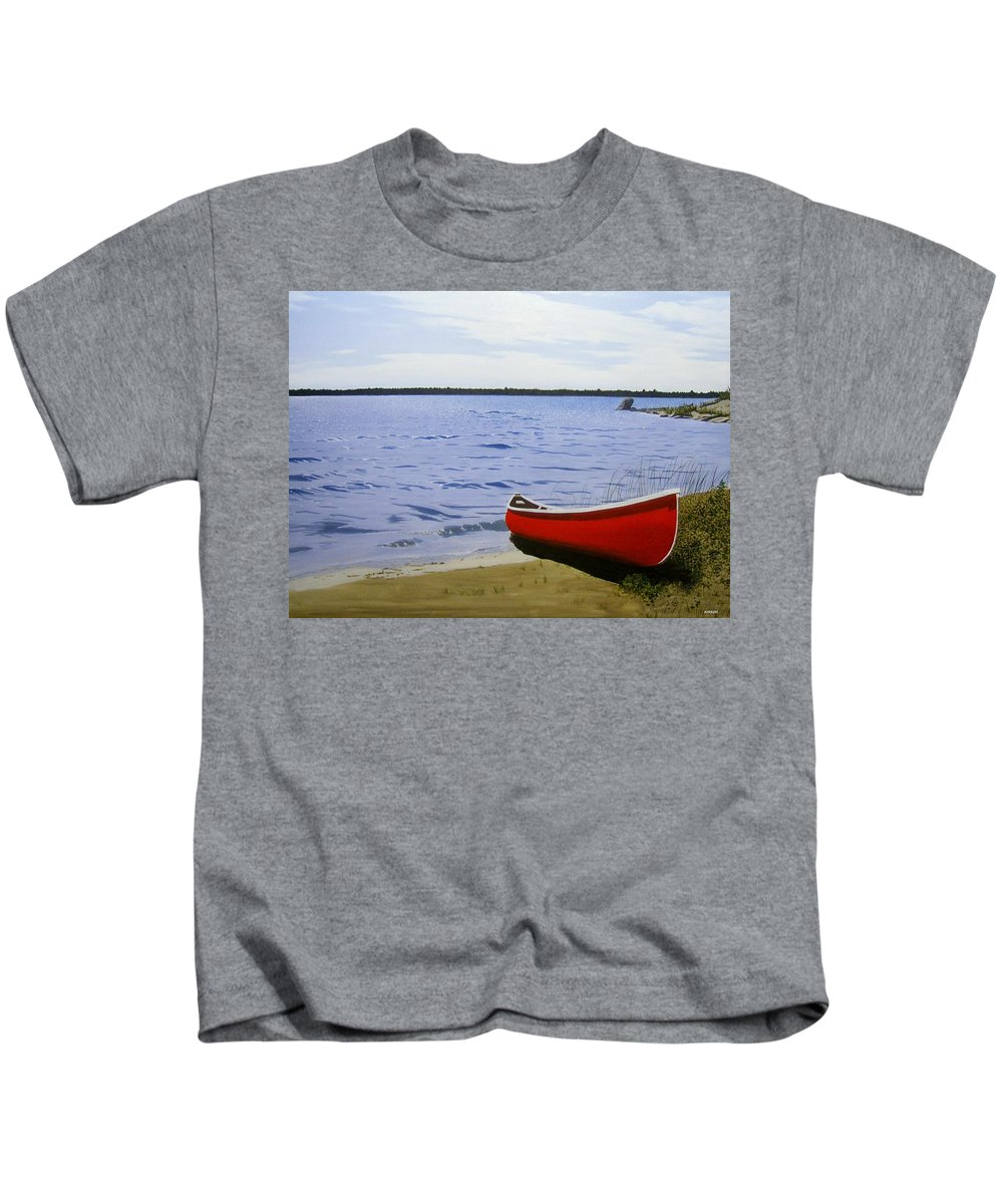 Landscpaes Kids T-Shirt featuring the painting Beaultiful Red Canoe by Kenneth M Kirsch