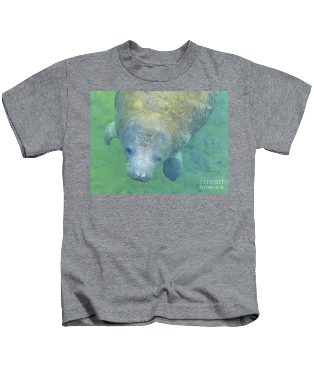 Manatee Kids T-Shirt featuring the photograph Beautiful Manatee by D Hackett
