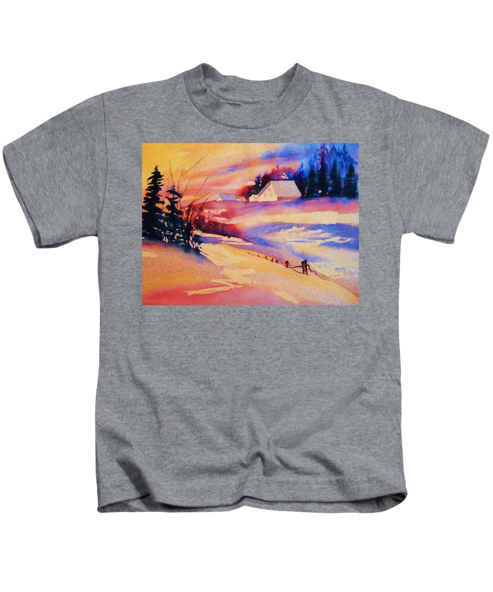 Winterscene Kids T-Shirt featuring the painting Beautiful Serenity by Carole Spandau