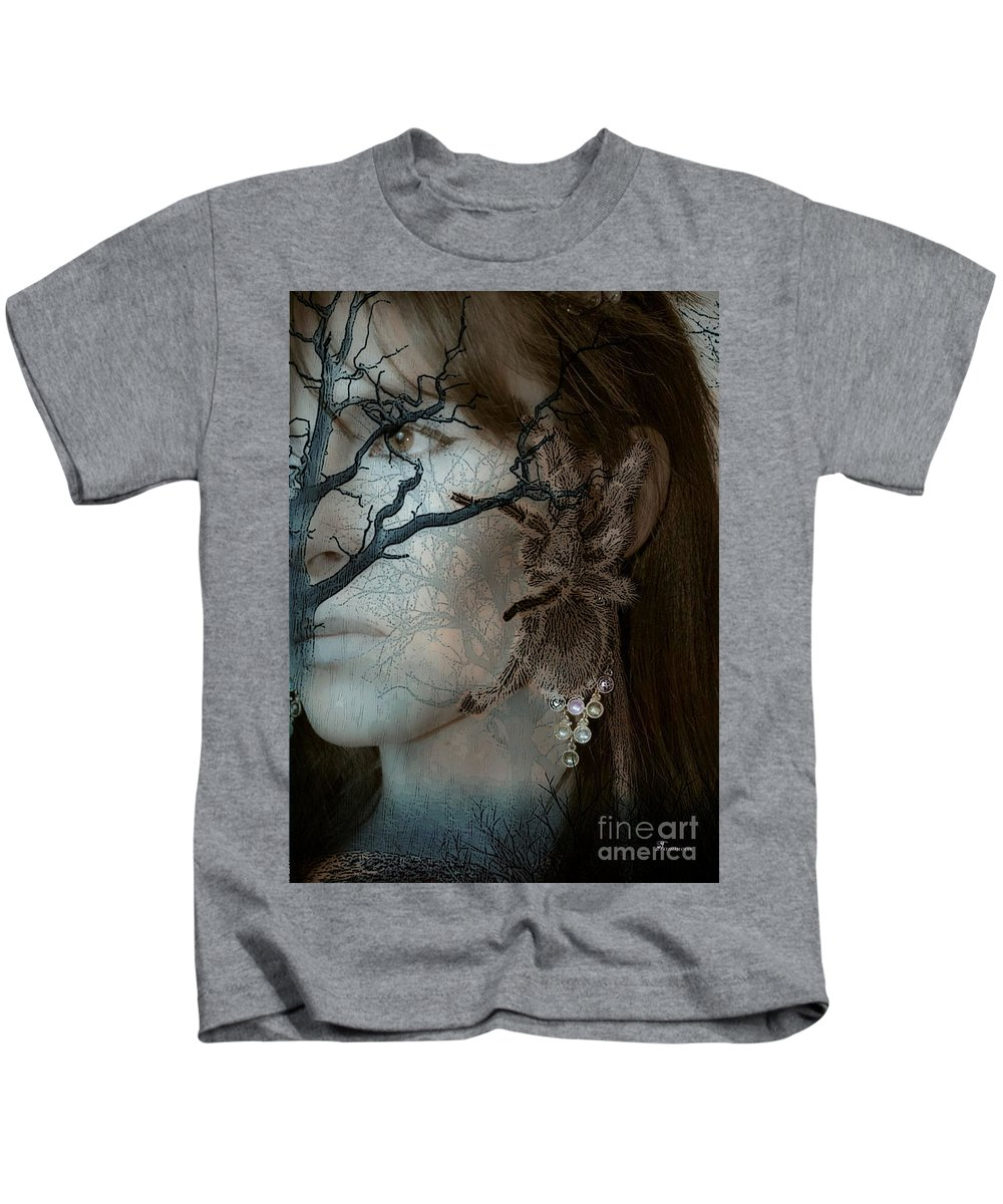 Tarantula Arachnid Phobias Fears Spider Woman Abstract Realism Sepia Tones Kids T-Shirt featuring the mixed media Beauty And The Beast by Tammera Malicki-Wong