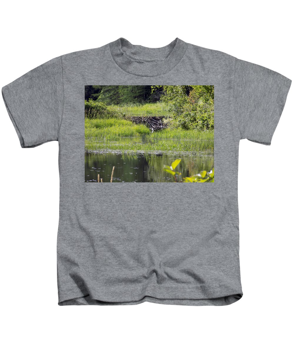 Landscape Kids T-Shirt featuring the photograph Beaver Pond Scene by William Tasker