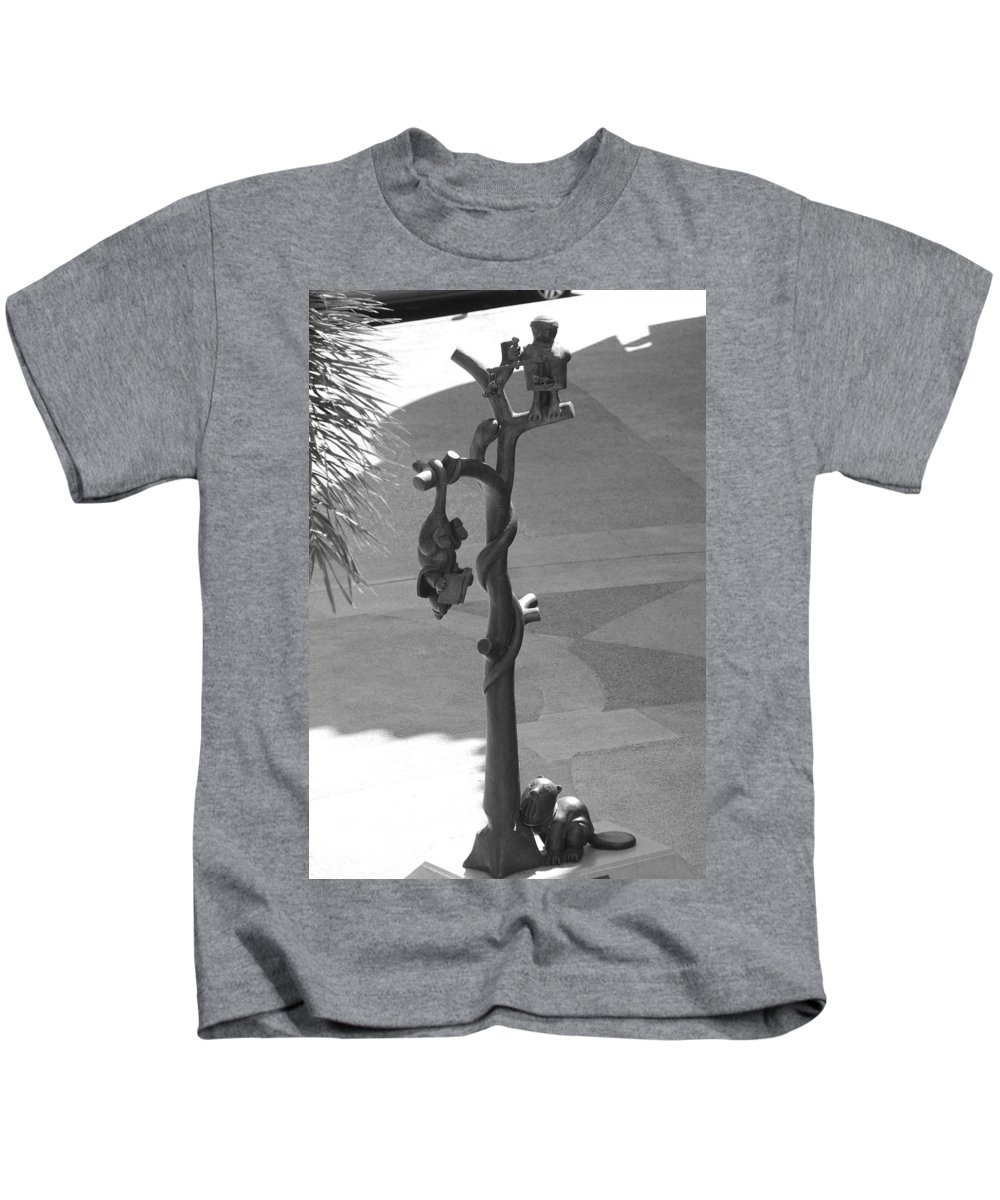 Black And White Kids T-Shirt featuring the photograph Beavers Bats And Squirrels by Rob Hans