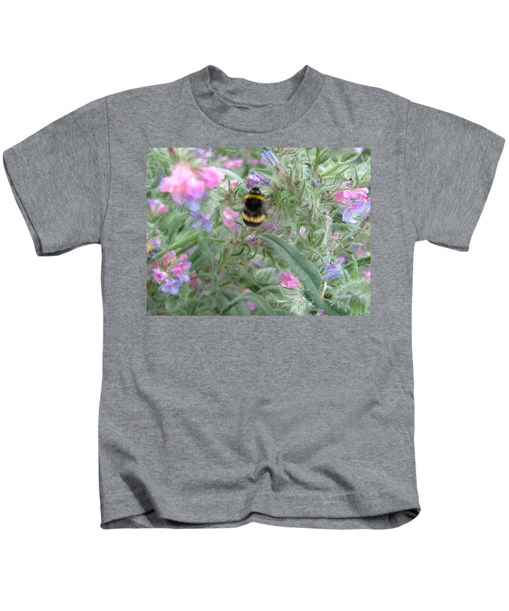Bee And Flower Kids T-Shirt featuring the photograph Bee And Flower by Heather Lennox