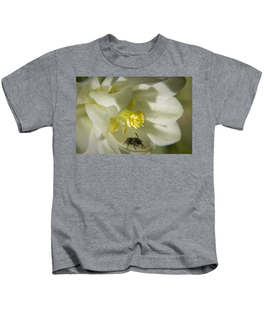 Columbine Kids T-Shirt featuring the photograph Bee Mine by Teresa Mucha