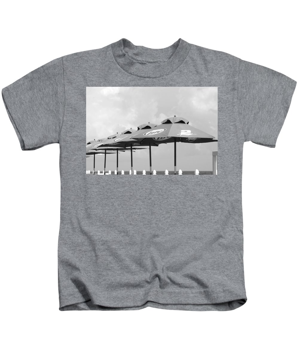 Black And White Kids T-Shirt featuring the photograph Beer Unbrellas by Rob Hans