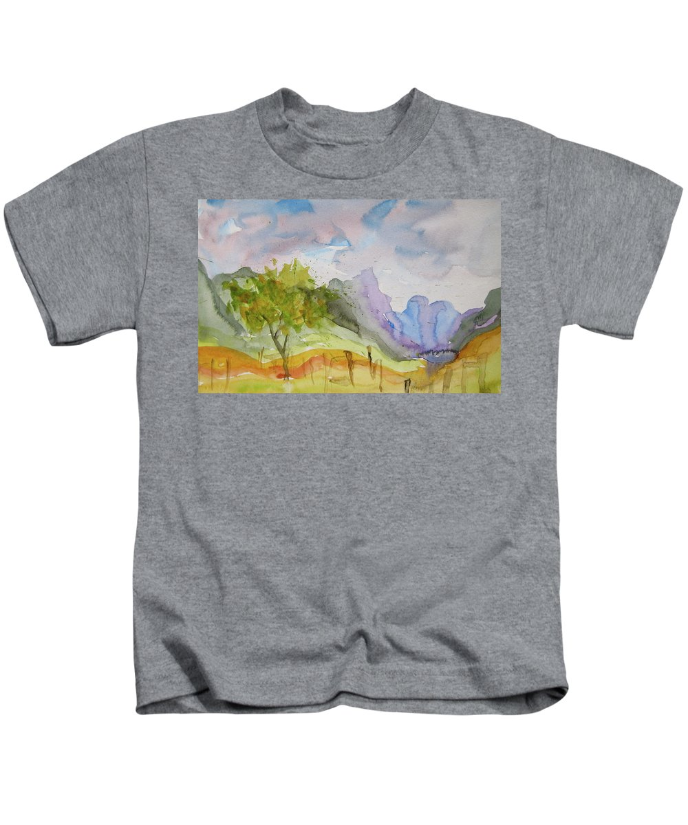 Landscape Kids T-Shirt featuring the painting Behind Overland Sheepskin by Beverley Harper Tinsley