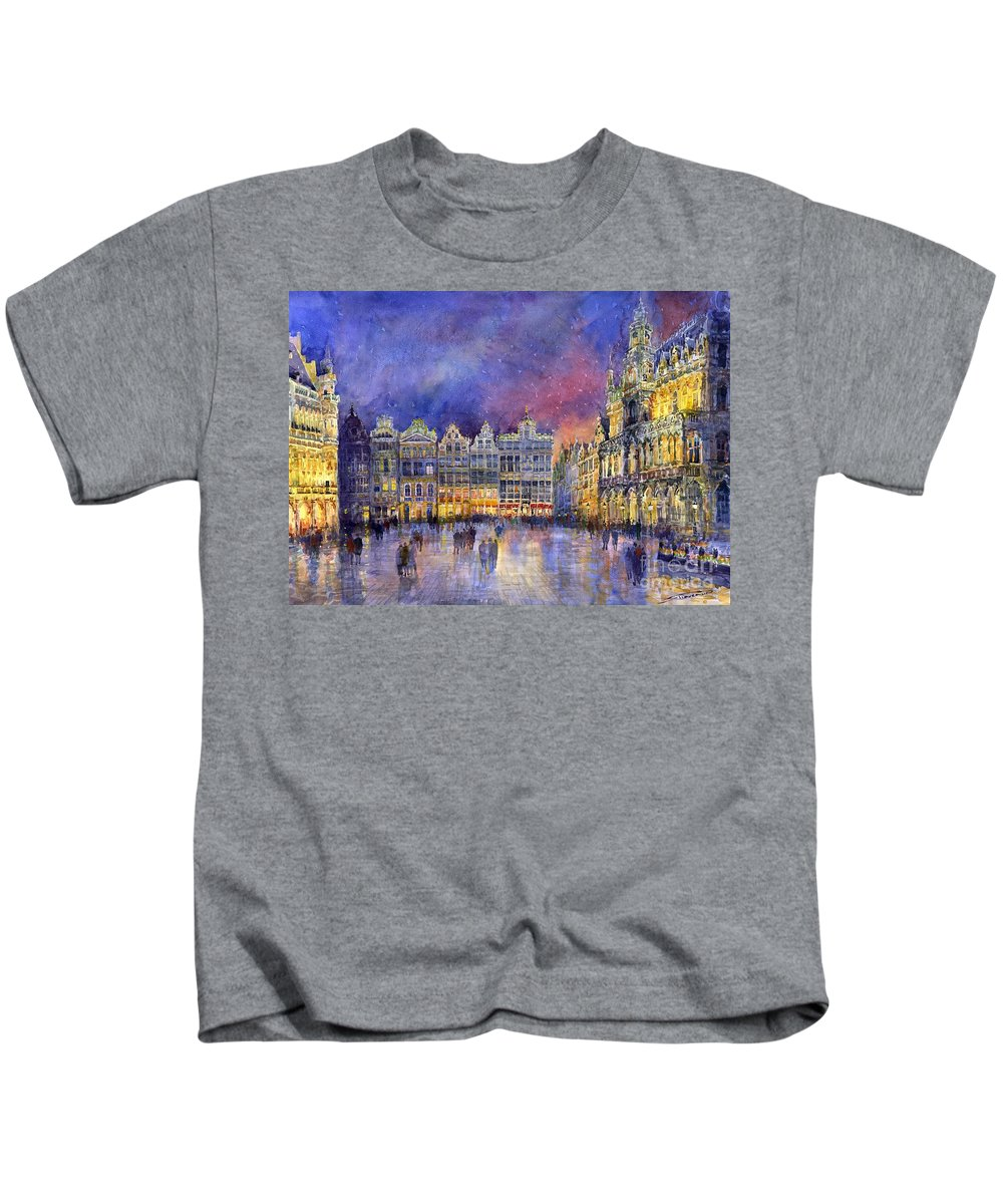 Watercolour Kids T-Shirt featuring the painting Belgium Brussel Grand Place Grote Markt by Yuriy Shevchuk