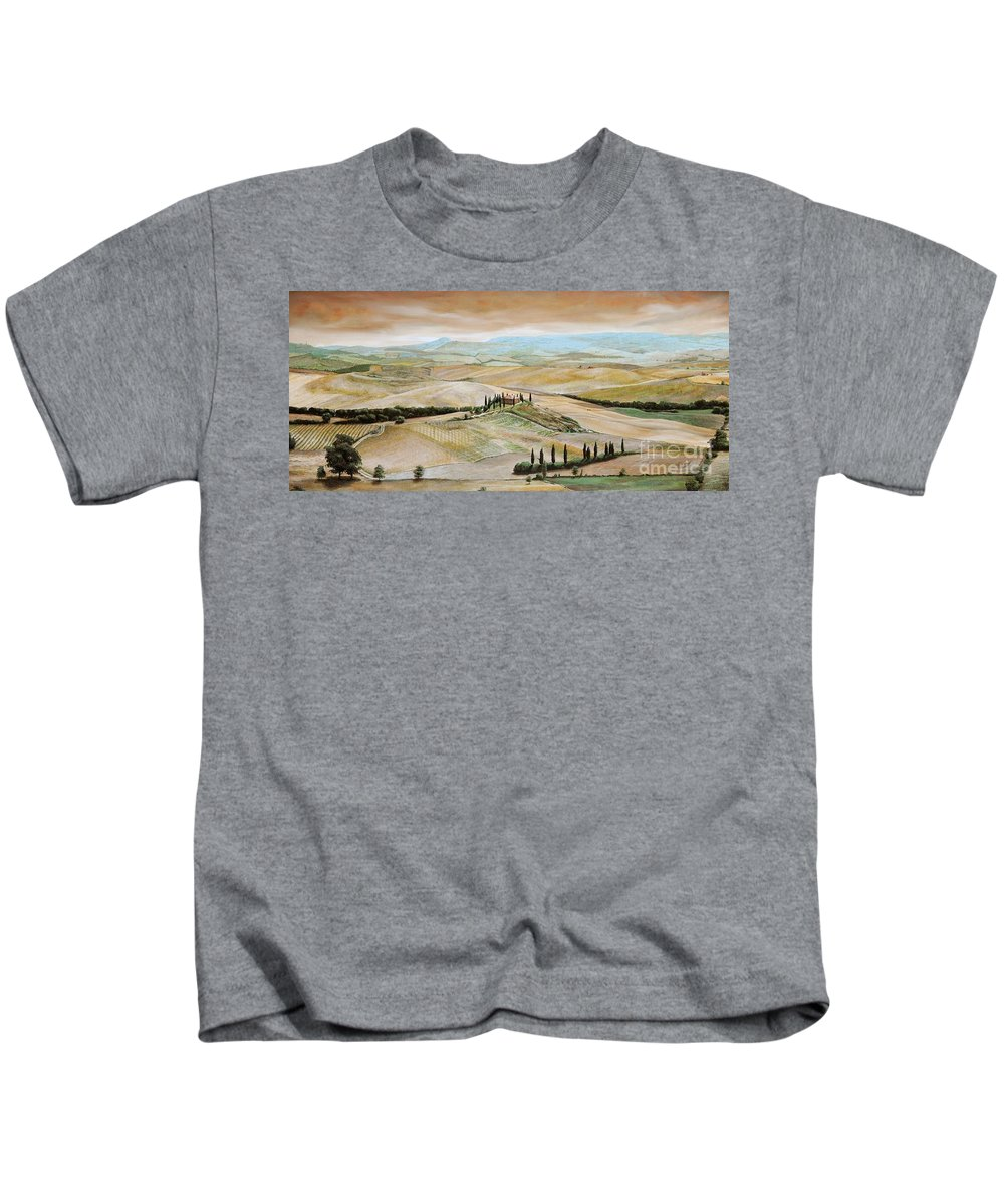 Italian Landscape; Tuscan; Hills; Countryside; Villa; Rural; Agricultural; Farmland; Tuscan Landscape; Hillside; Italy; Belvedere; Tuscany; Tree; Trees Kids T-Shirt featuring the painting Belvedere - Tuscany by Trevor Neal