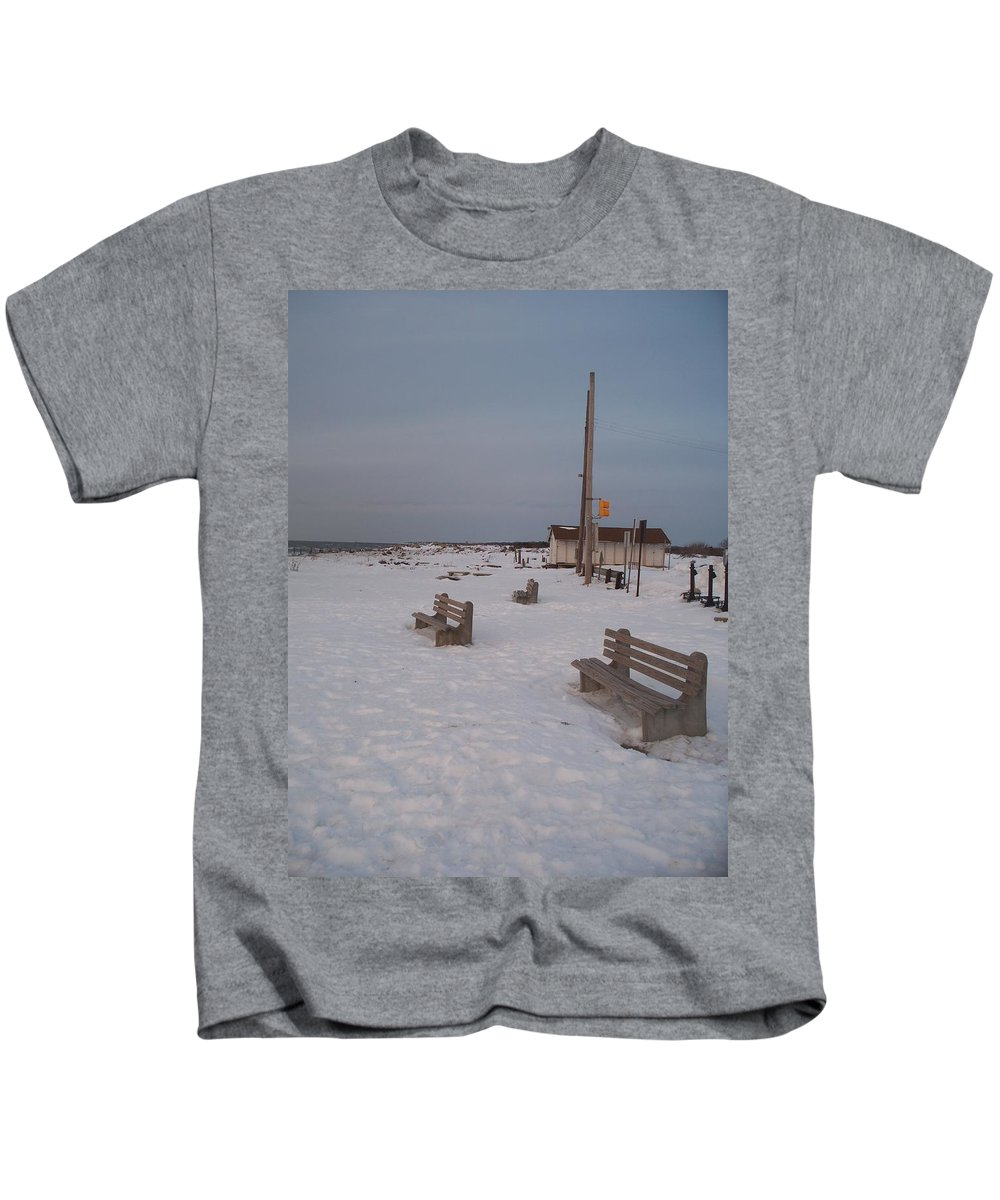 Benches Kids T-Shirt featuring the photograph Benches At Sunset Beach Nj by Eric Schiabor