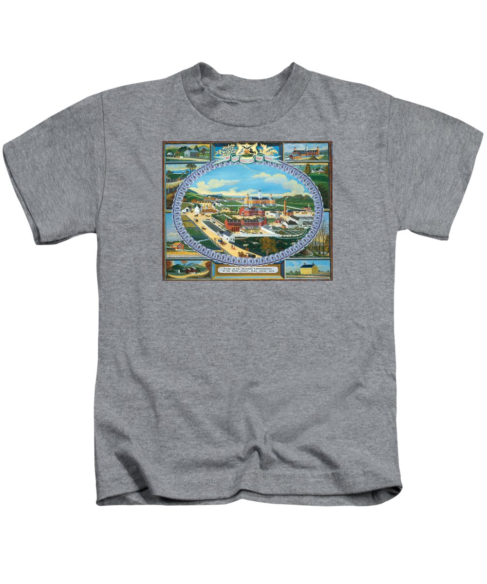 Painting Kids T-Shirt featuring the painting Berks County Almshouse by Mountain Dreams