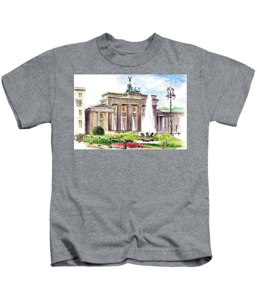 Watercolor Kids T-Shirt featuring the painting Berlin Brandenburg Gate by Georgi Charaka
