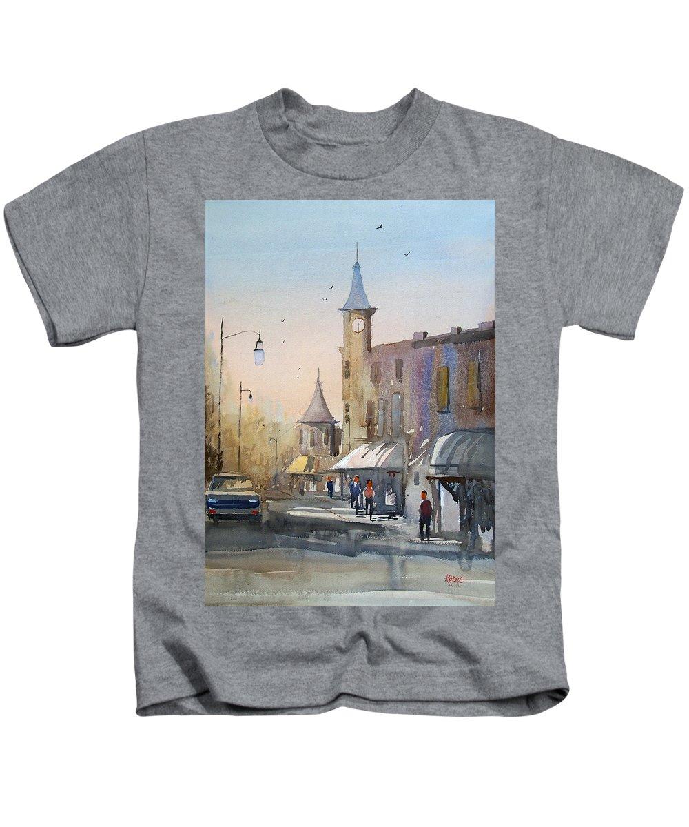 Watercolor Kids T-Shirt featuring the painting Berlin Clock Tower by Ryan Radke