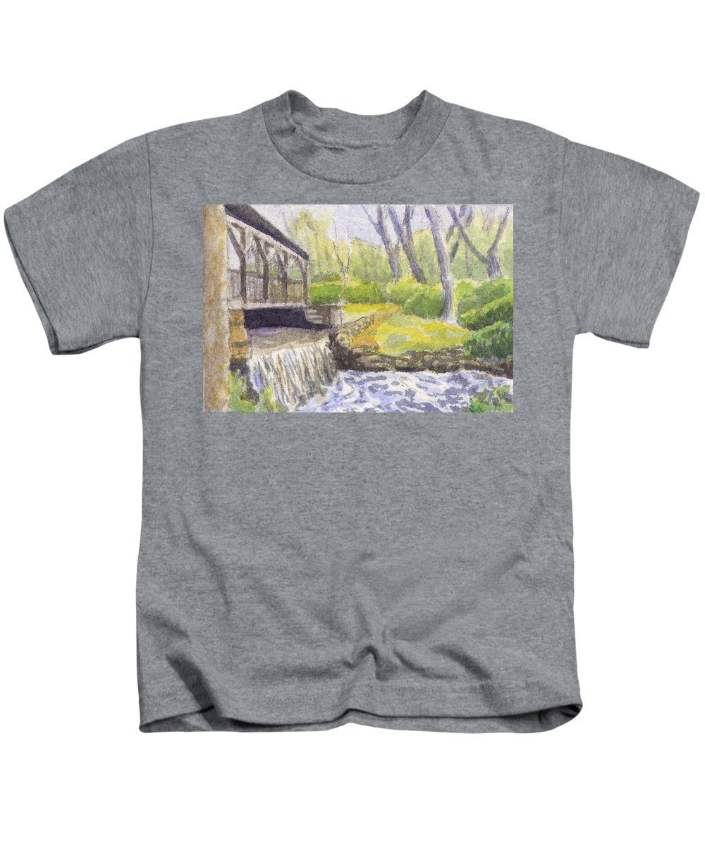 Moore State Park Kids T-Shirt featuring the painting Beside The Dam by Sharon E Allen