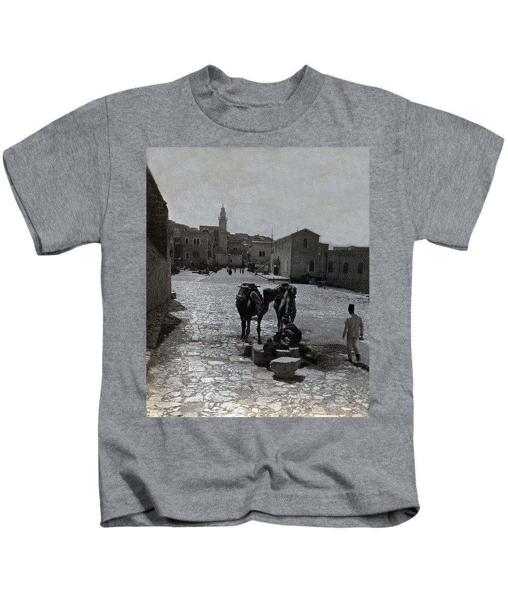 Bethlehem Kids T-Shirt featuring the photograph Bethlehem Street Scene 1911 by Munir Alawi