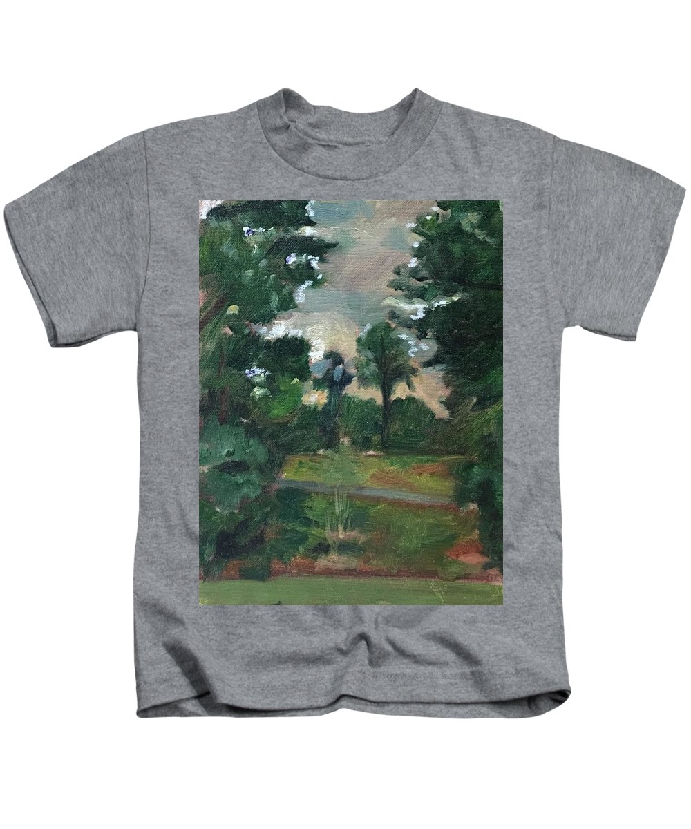 Kids T-Shirt featuring the painting Between Two Trees by Alejandro Lopez-Tasso