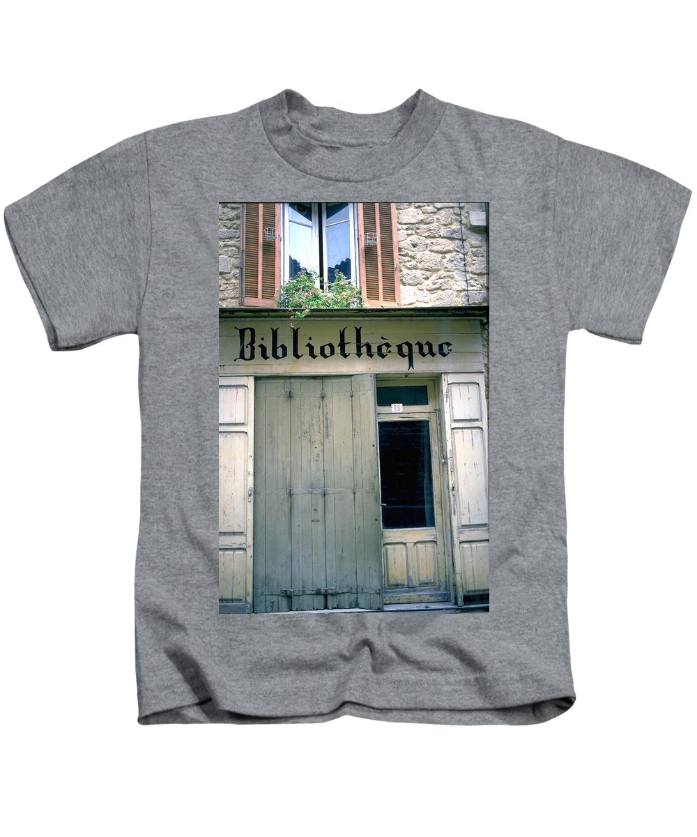 Bibliotheque Kids T-Shirt featuring the photograph Bibliotheque by Flavia Westerwelle