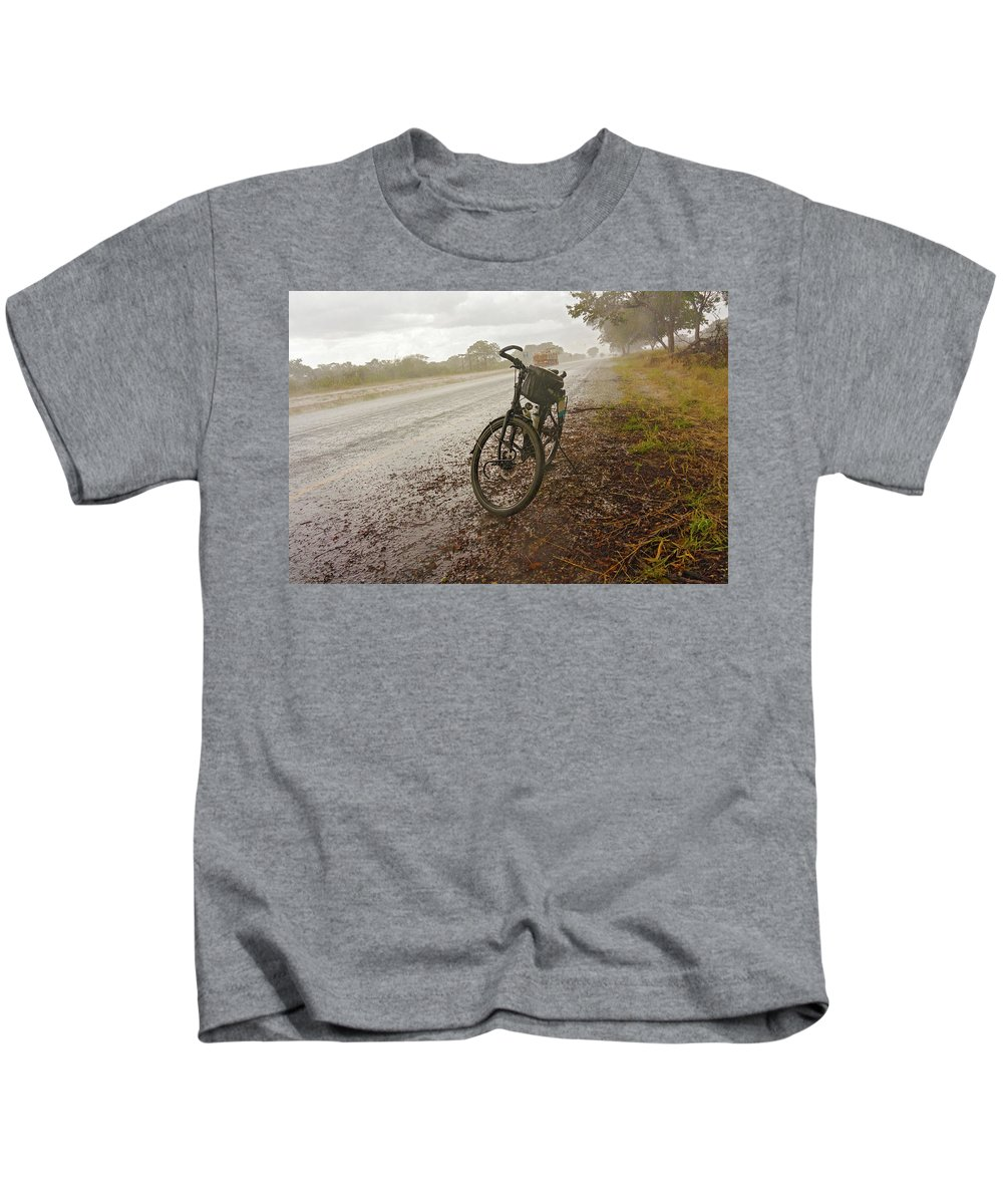 Road Kids T-Shirt featuring the photograph Bicycle On The Road In Botswana by Marek Poplawski