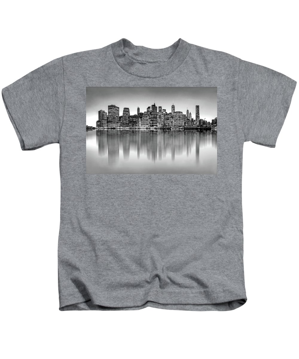 One World Trade Center Kids T-Shirt featuring the photograph Big City Reflections by Az Jackson