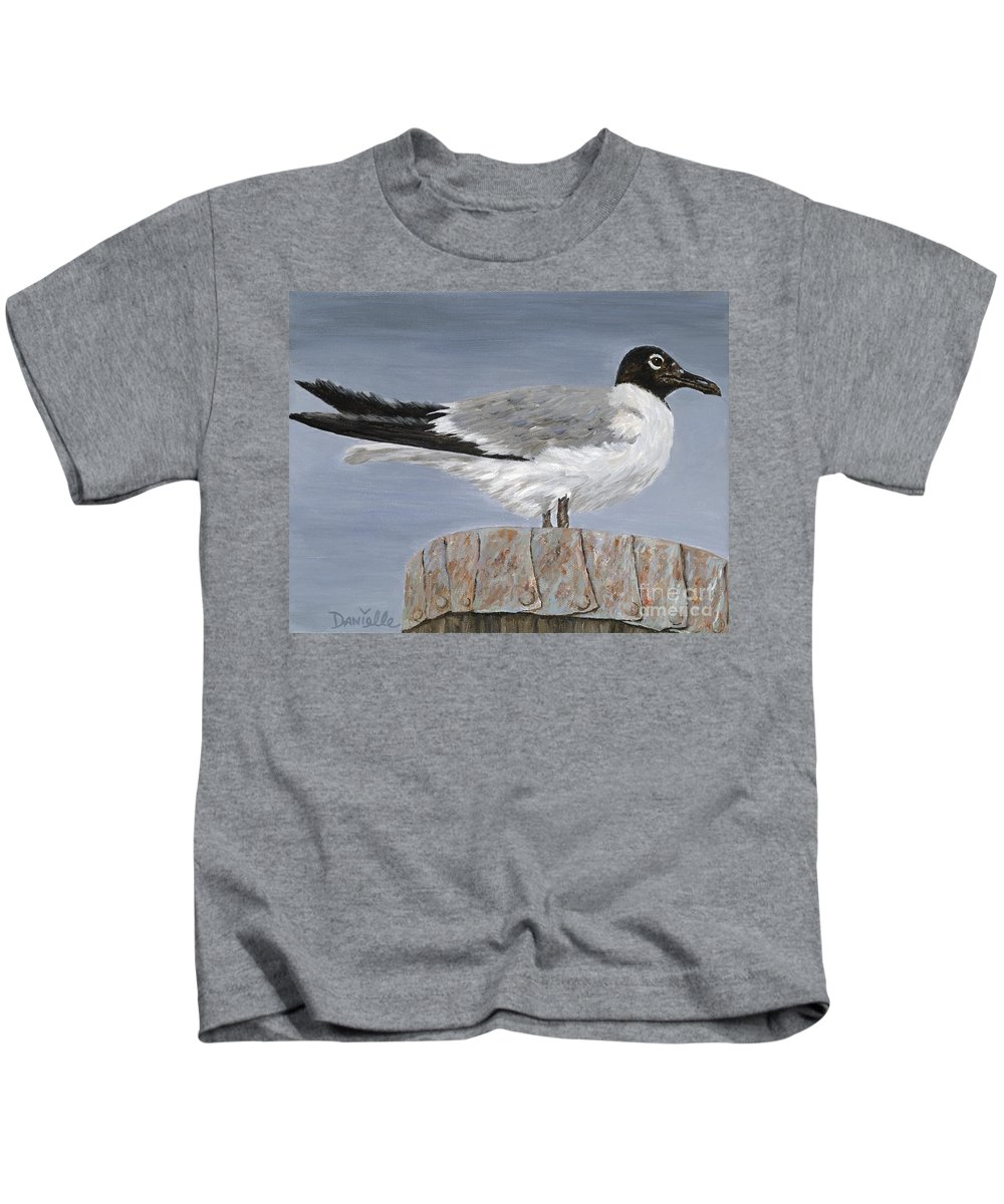 Seagull Kids T-Shirt featuring the painting Bimini Gull by Danielle Perry