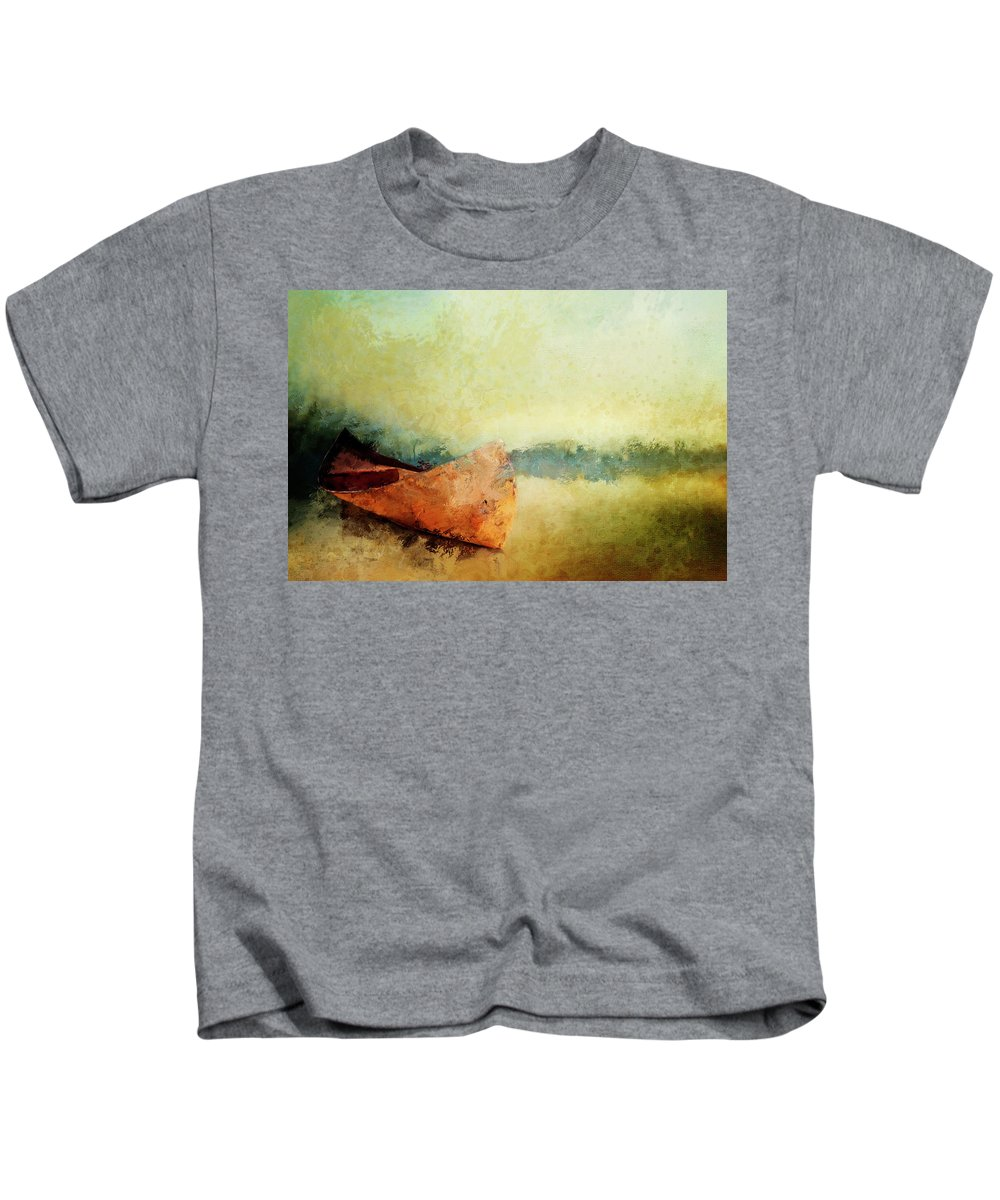 Canoe Kids T-Shirt featuring the painting Birch Bark Canoe At Rest by Christina VanGinkel