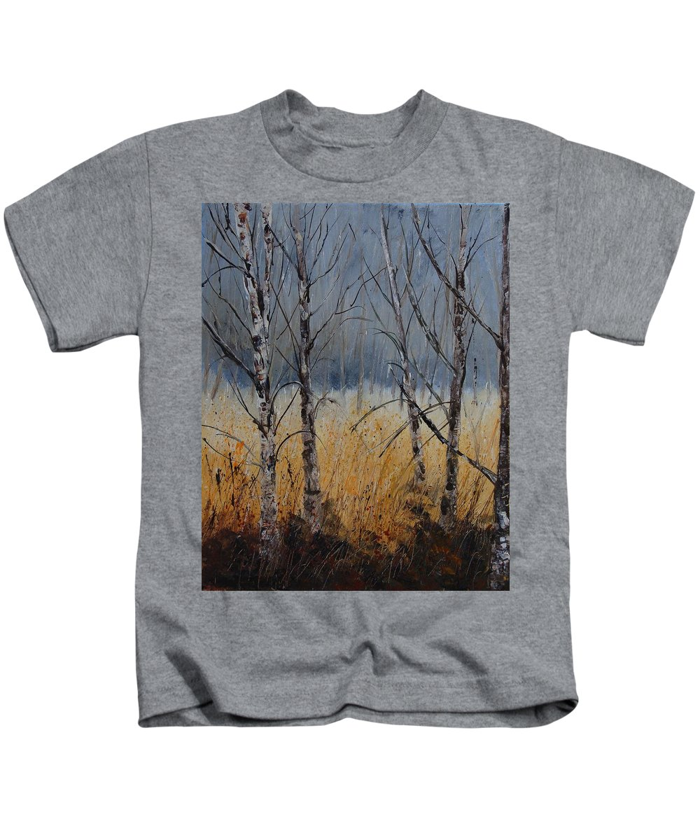 Winter Kids T-Shirt featuring the painting Birch Trees by Pol Ledent