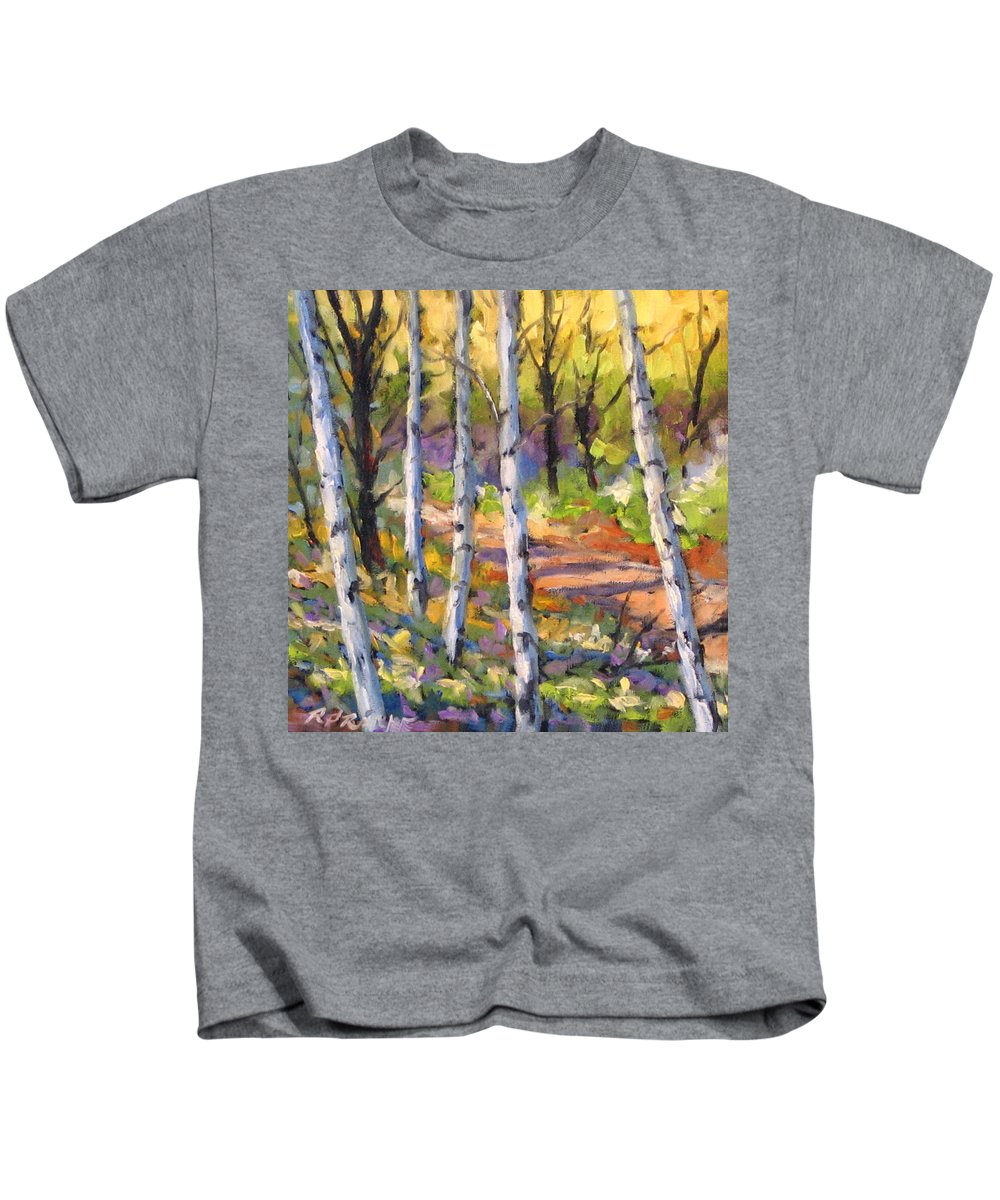 Art Kids T-Shirt featuring the painting Birches 02 by Richard T Pranke