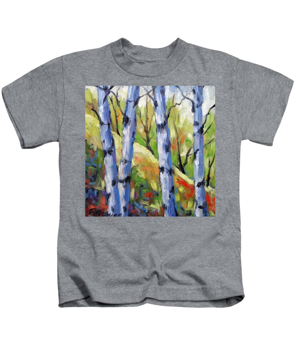 Art Kids T-Shirt featuring the painting Birches 09 by Richard T Pranke