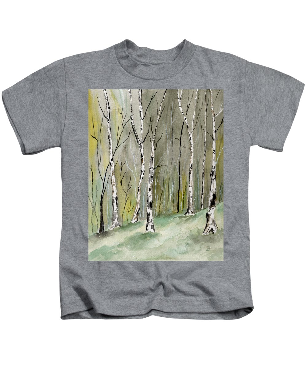 Landscape Kids T-Shirt featuring the painting Birches Before Spring by Brenda Owen