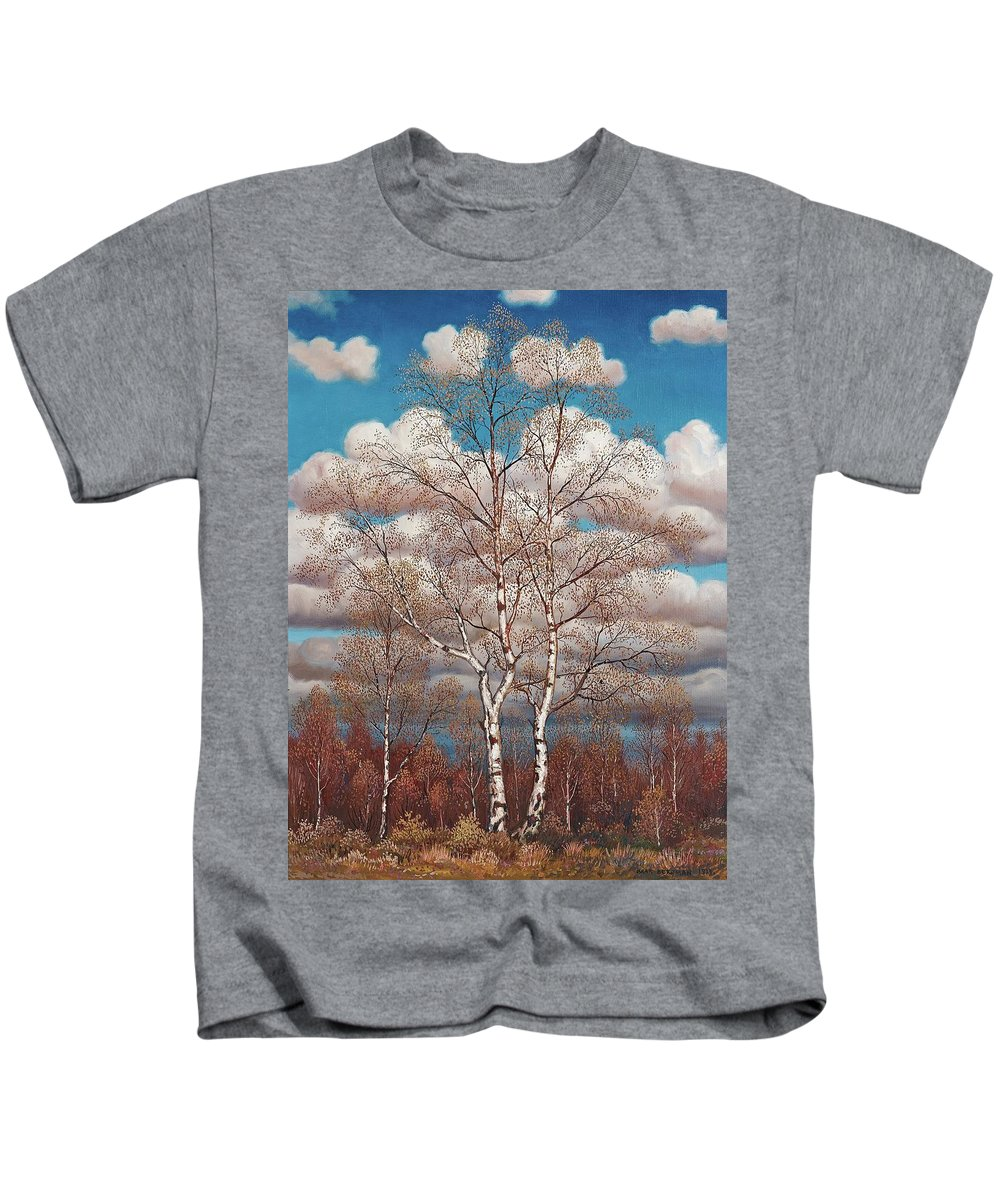 Oskar Bergman Kids T-Shirt featuring the painting Birches In The Spring by MotionAge Designs