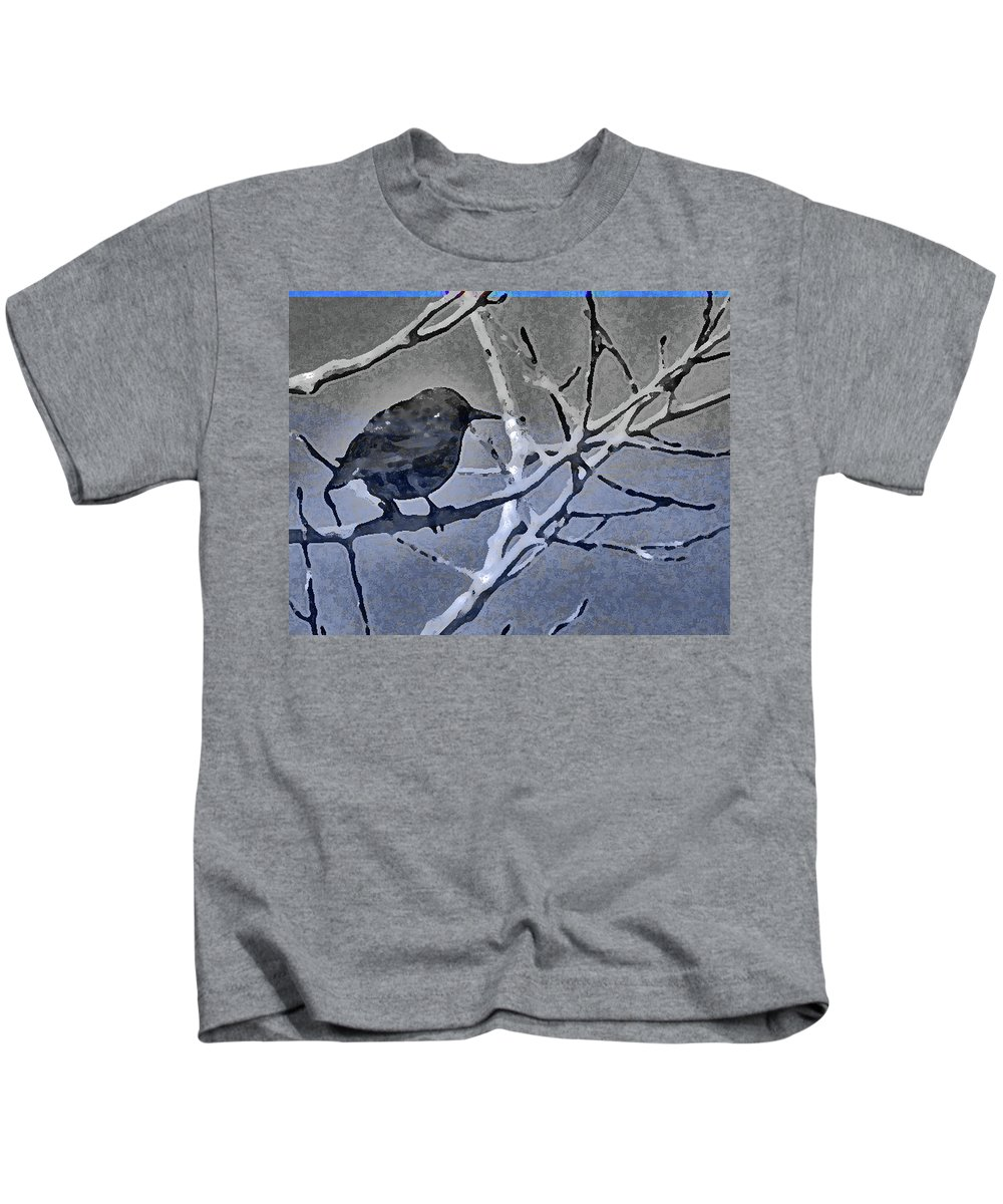 Abstract Kids T-Shirt featuring the photograph Bird In Digital Blue by Lenore Senior