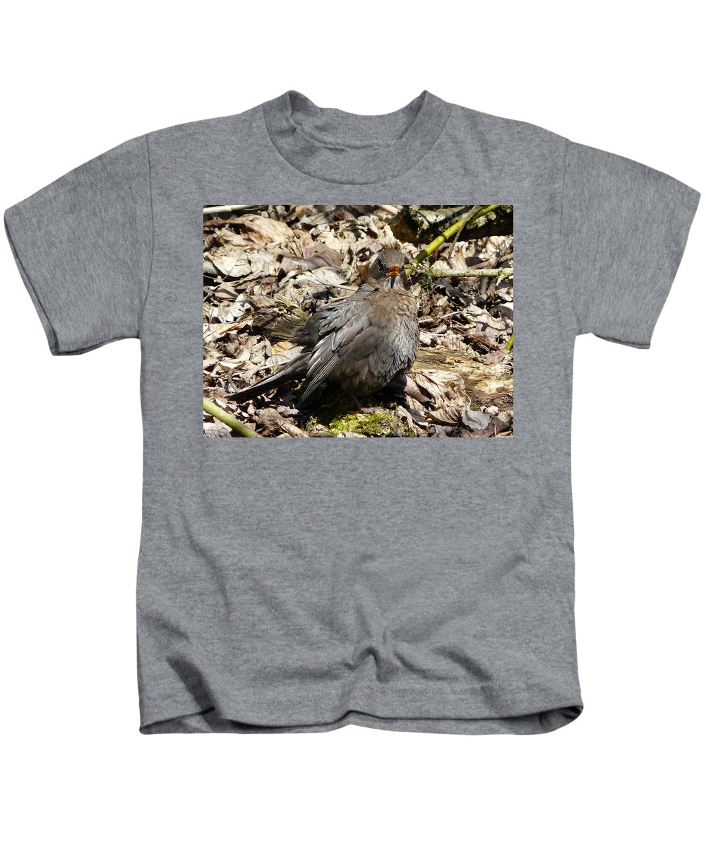 Bird Kids T-Shirt featuring the photograph Bird In Hiding by Valerie Ornstein