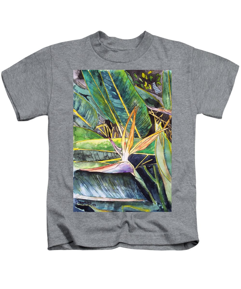 Watercolor Kids T-Shirt featuring the painting Bird Of Paradise by Derek Mccrea