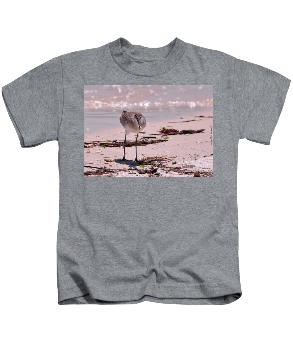 Beach Kids T-Shirt featuring the photograph Bird On The Beach by Susan Cliett