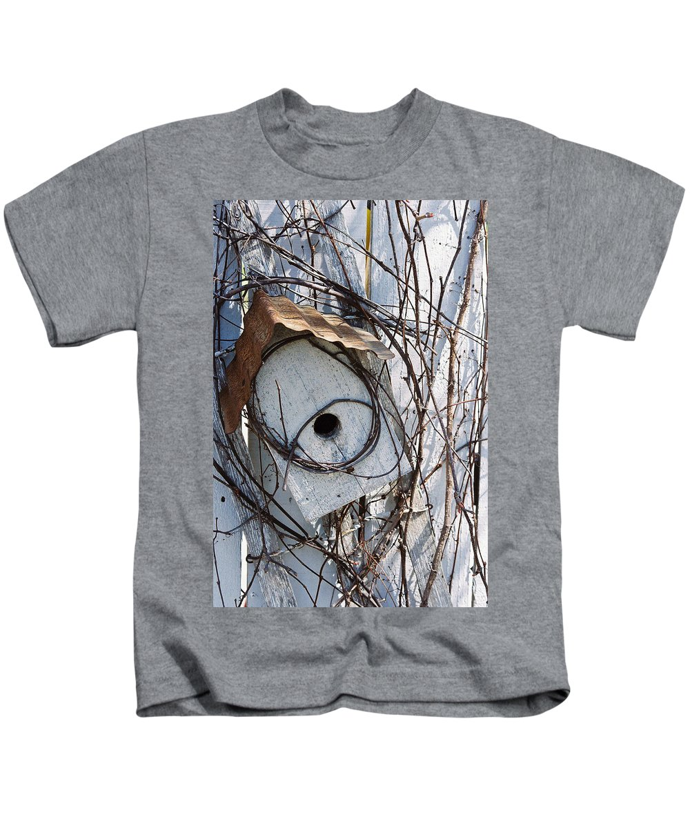 Birdhouse Kids T-Shirt featuring the photograph Birdhouse Brambles by Lauri Novak