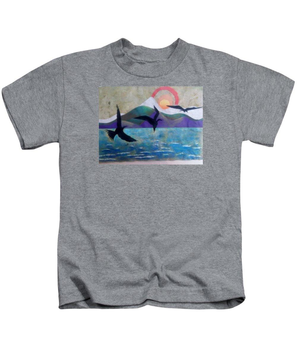 Birds Kids T-Shirt featuring the mixed media Birds by Denise Fletcher