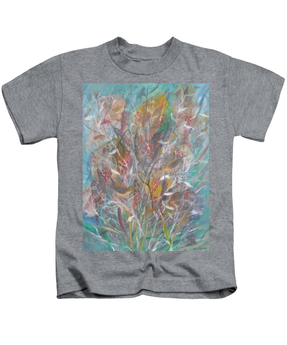 Birds Kids T-Shirt featuring the painting Birds In A Bush by Ben Kiger