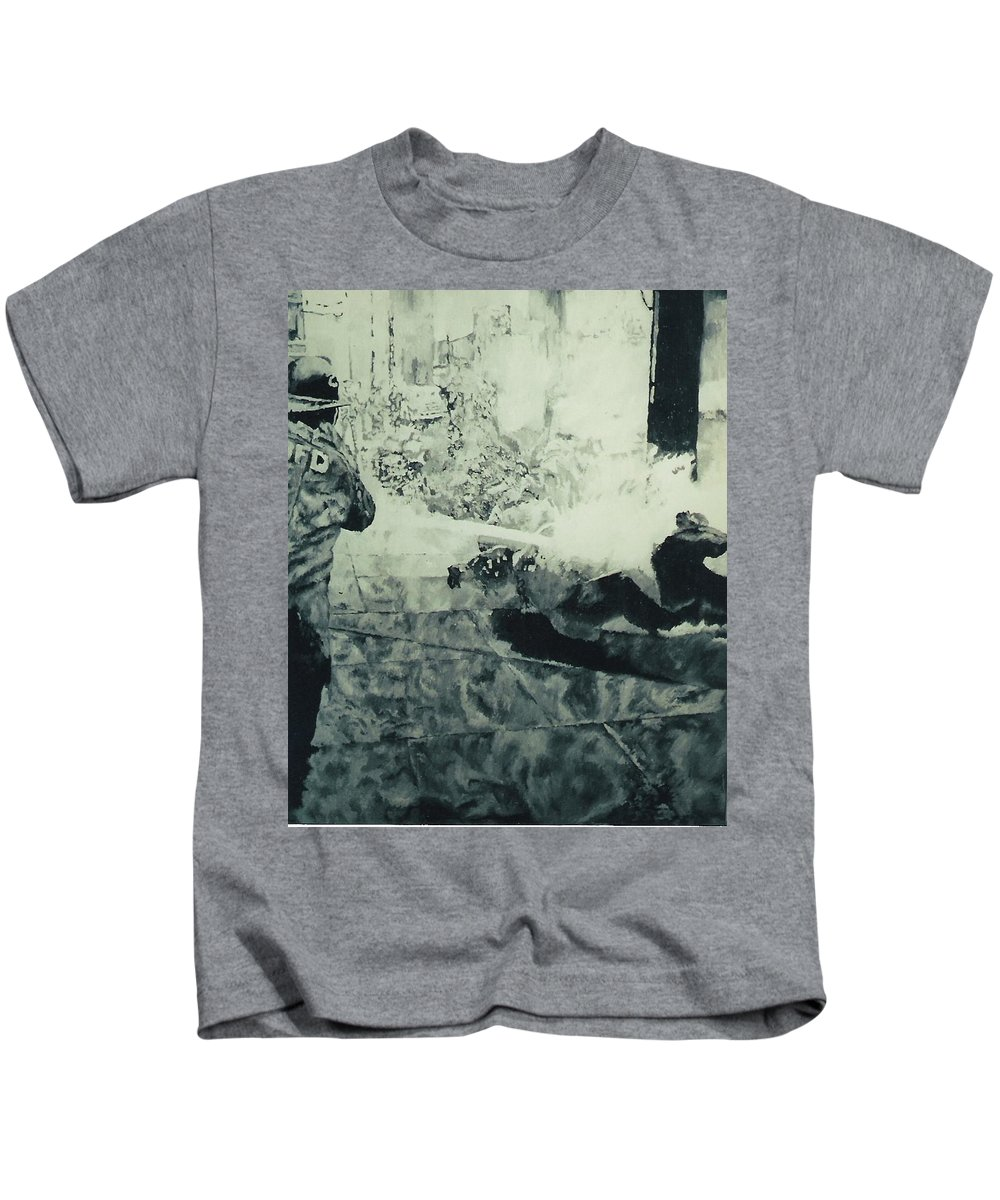 Civil Rights Movement Kids T-Shirt featuring the painting Birmingham Fire Department Sprays Protestor With High Pressure Water Hoses 1963 by Lauren Luna