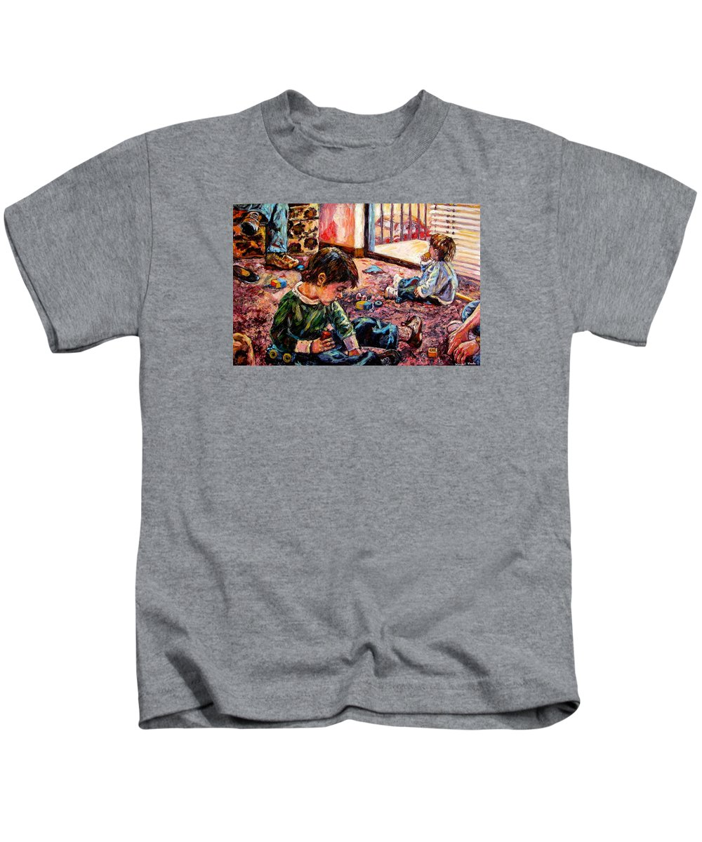 Figure Kids T-Shirt featuring the painting Birthday Party Or A Childs View by Kendall Kessler