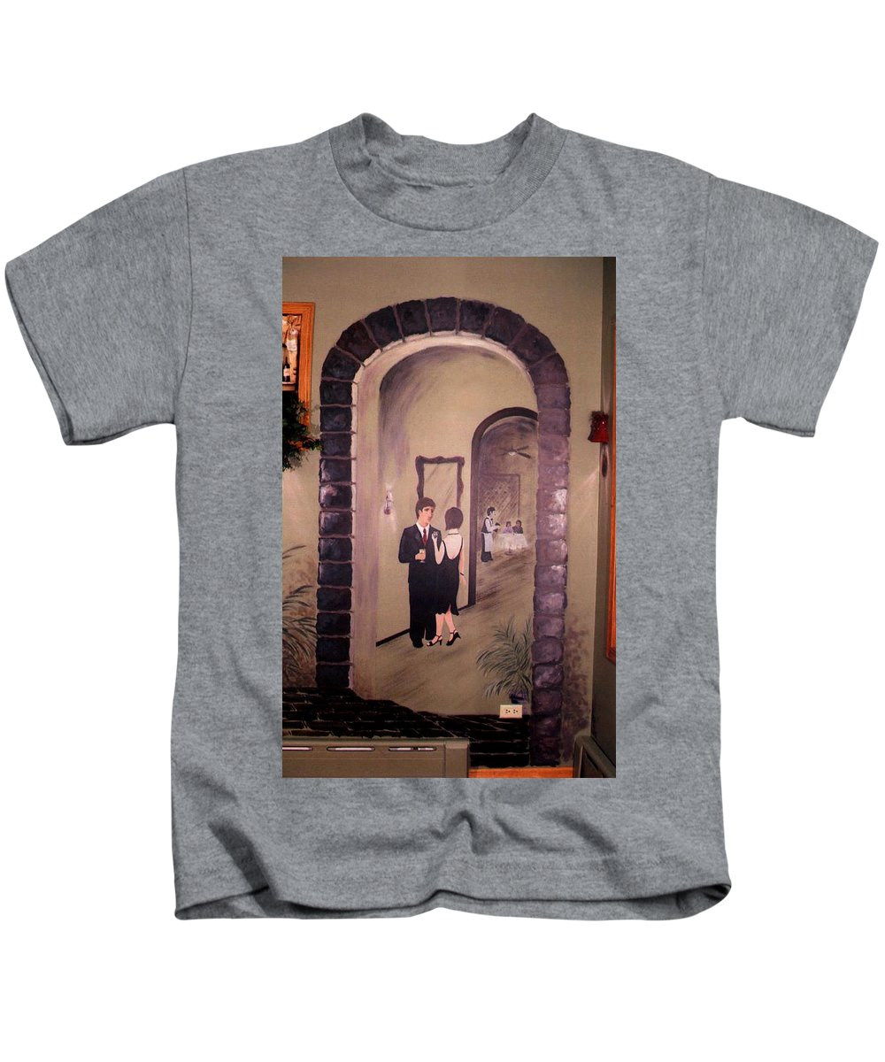 Mural Kids T-Shirt featuring the painting Bistro Mural Detail 6 by Rachel Christine Nowicki